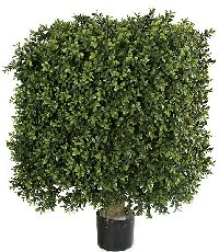 Artificial Topiary Trees, Outdoor Topiary, 25 inch x 18 inch Plastic Boxwood Square Topiary and Limited UV Protection